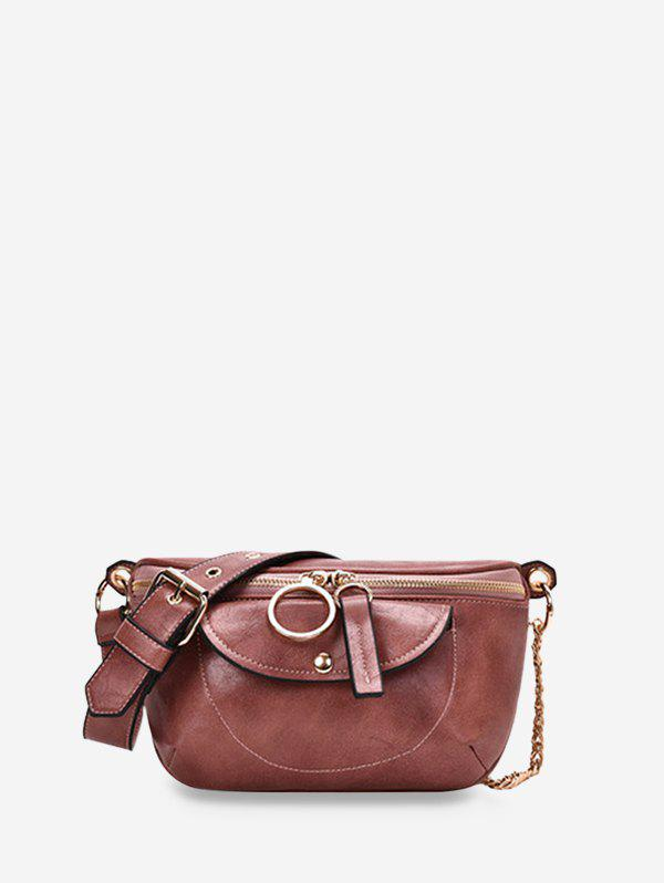 Chain Zipper Solid Crossbody Bag - PINK