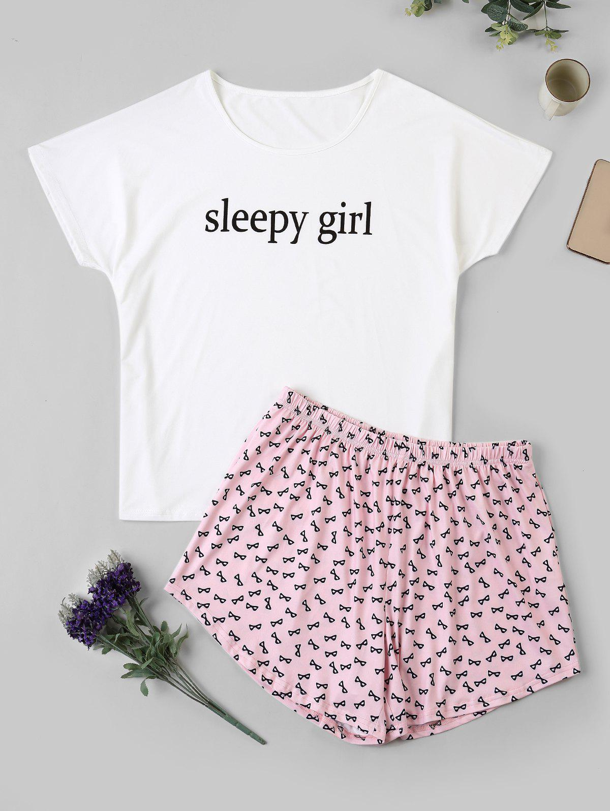 Plus Size Short Sleeve Sleepy Girl Graphic Pajama Shorts Set - WHITE 1XL