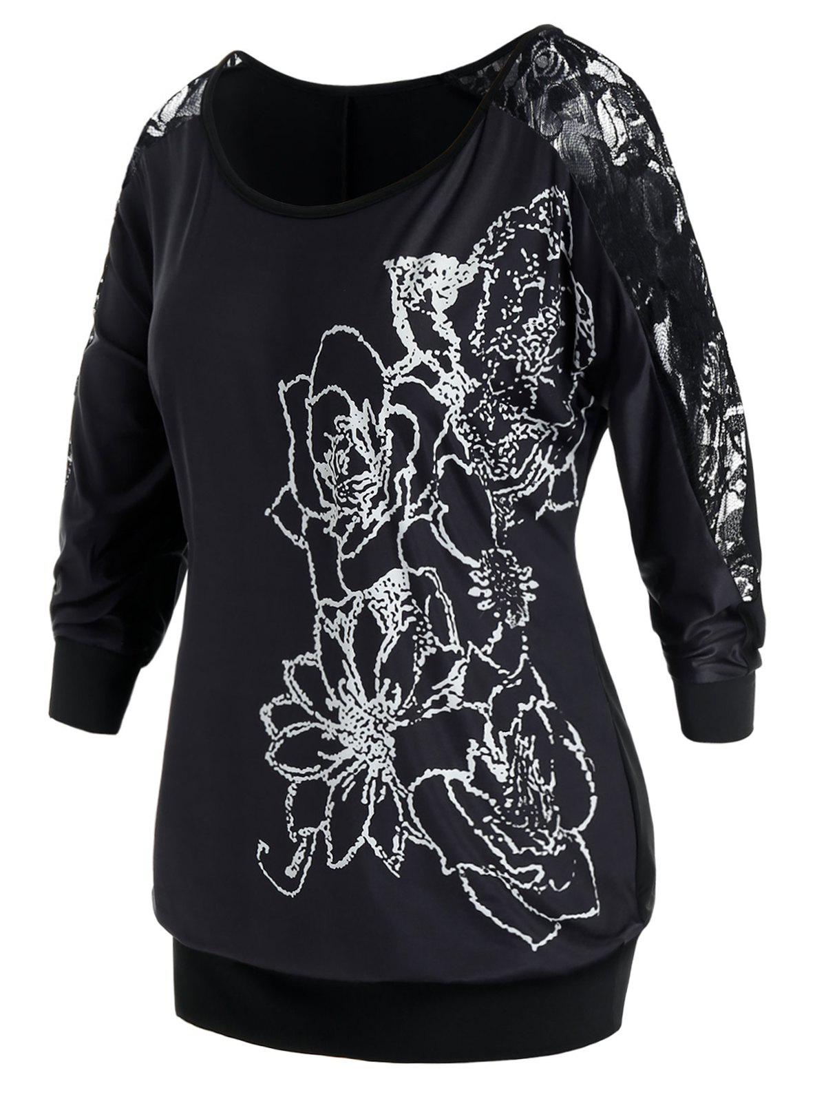 Plus Size Flower Print Lace Panel Sheer Blouson Tee - BLACK 2X