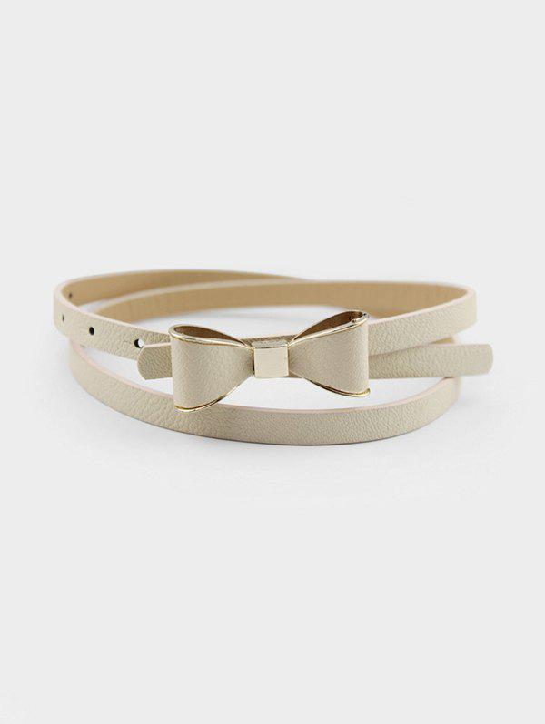 Bowknot Decorative PU Waist Belt - LIGHT YELLOW