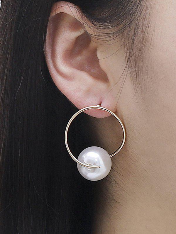 Faux Pearl Ball Circle Drop Earrings - GOLDEN