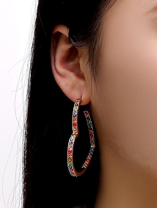 Colorful Rhinestone Heart Shape Hoop Earrings - GOLDEN