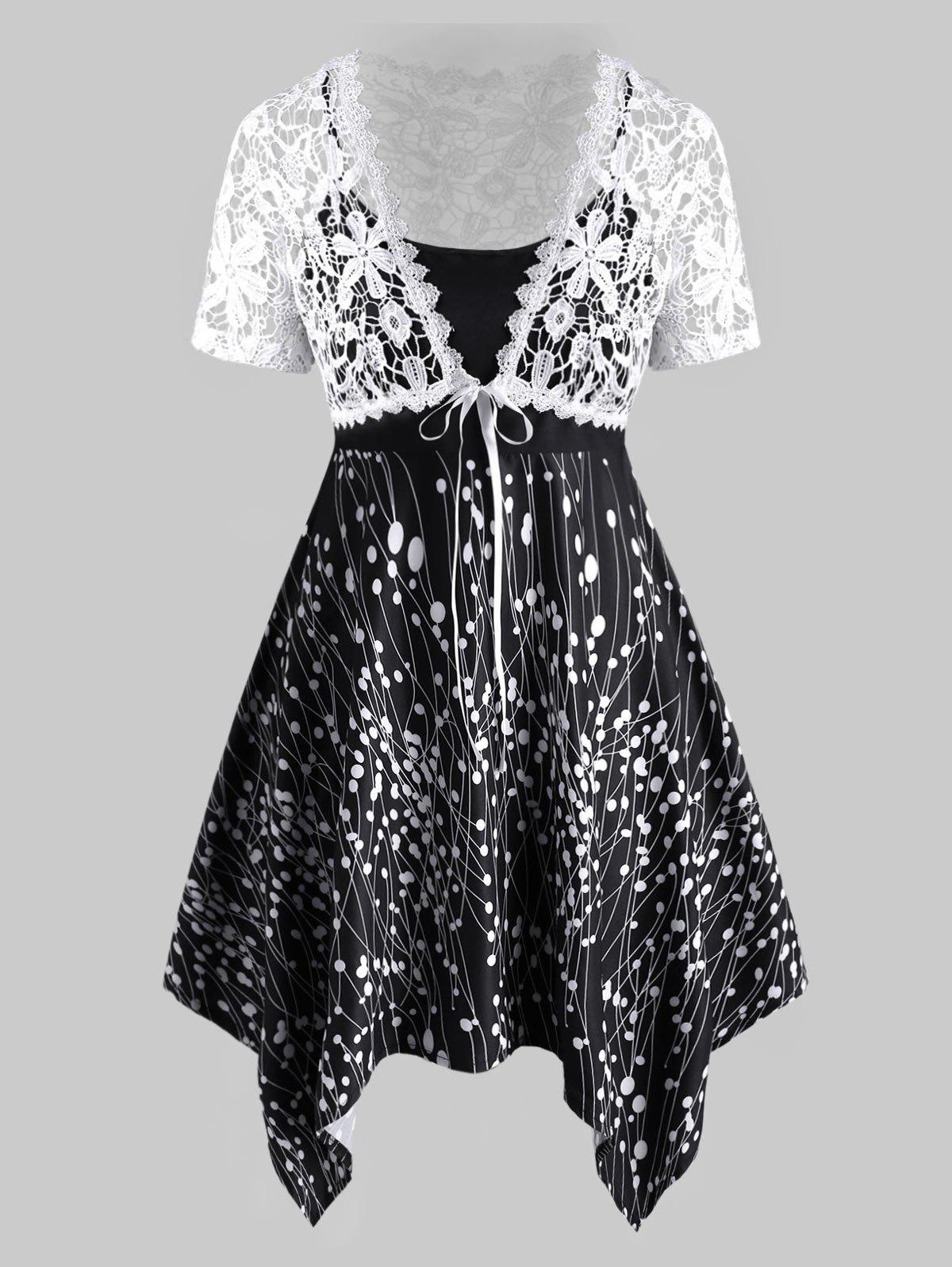 Plus Size Printed Handkerchief Cami Dress And Lace Knotted Top Set - BLACK 2X