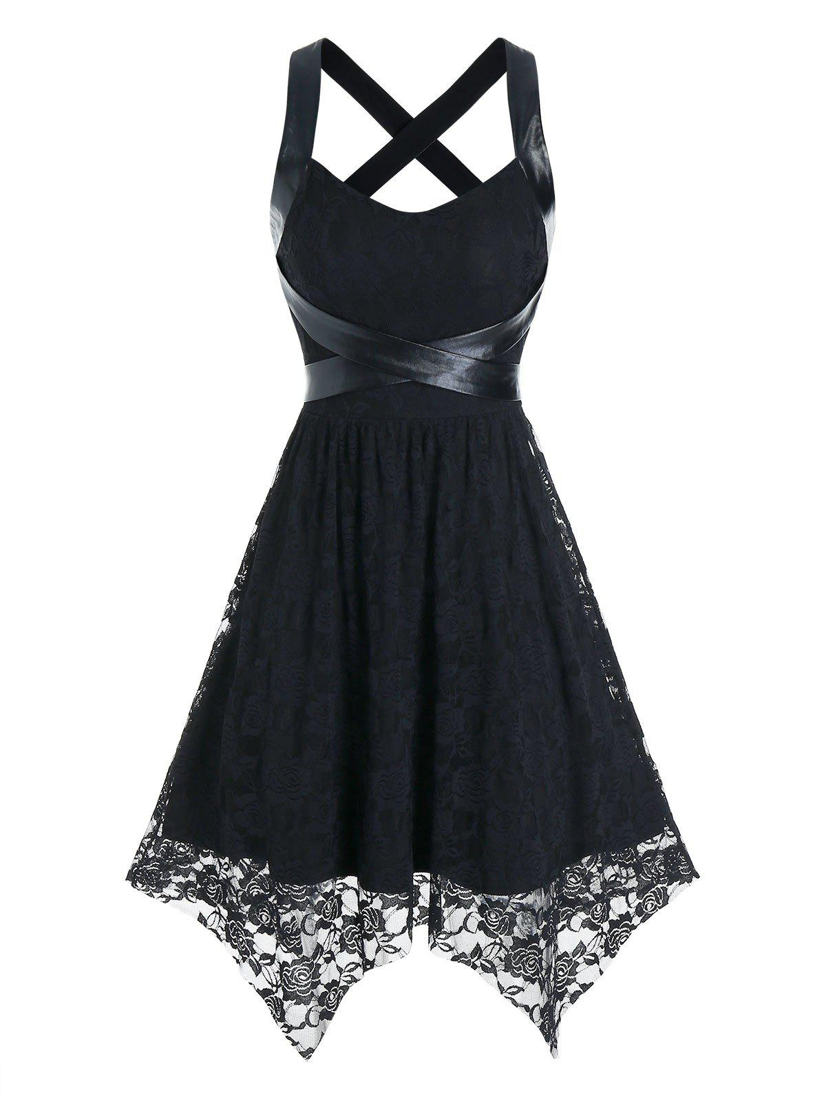 Sleeveless Flower Lace Handkerchief Dress - BLACK M