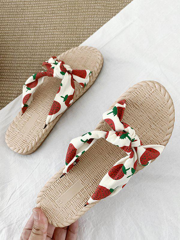 Fruits Print Knotted Flat Slides - RED EU 39