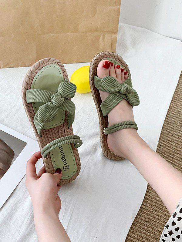 Cross Strap Bowknot Slides Sandals - GREEN EU 40