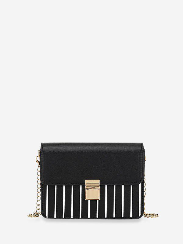 Striped Print Rectangle Chain Crossbody Bag - BLACK