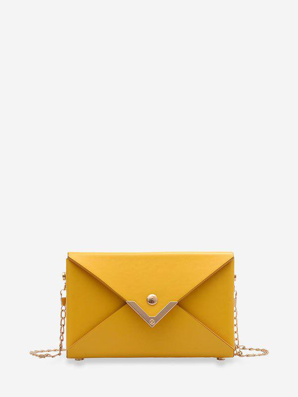 Rectangle Chain Metal Decoration Envelope Bag - YELLOW