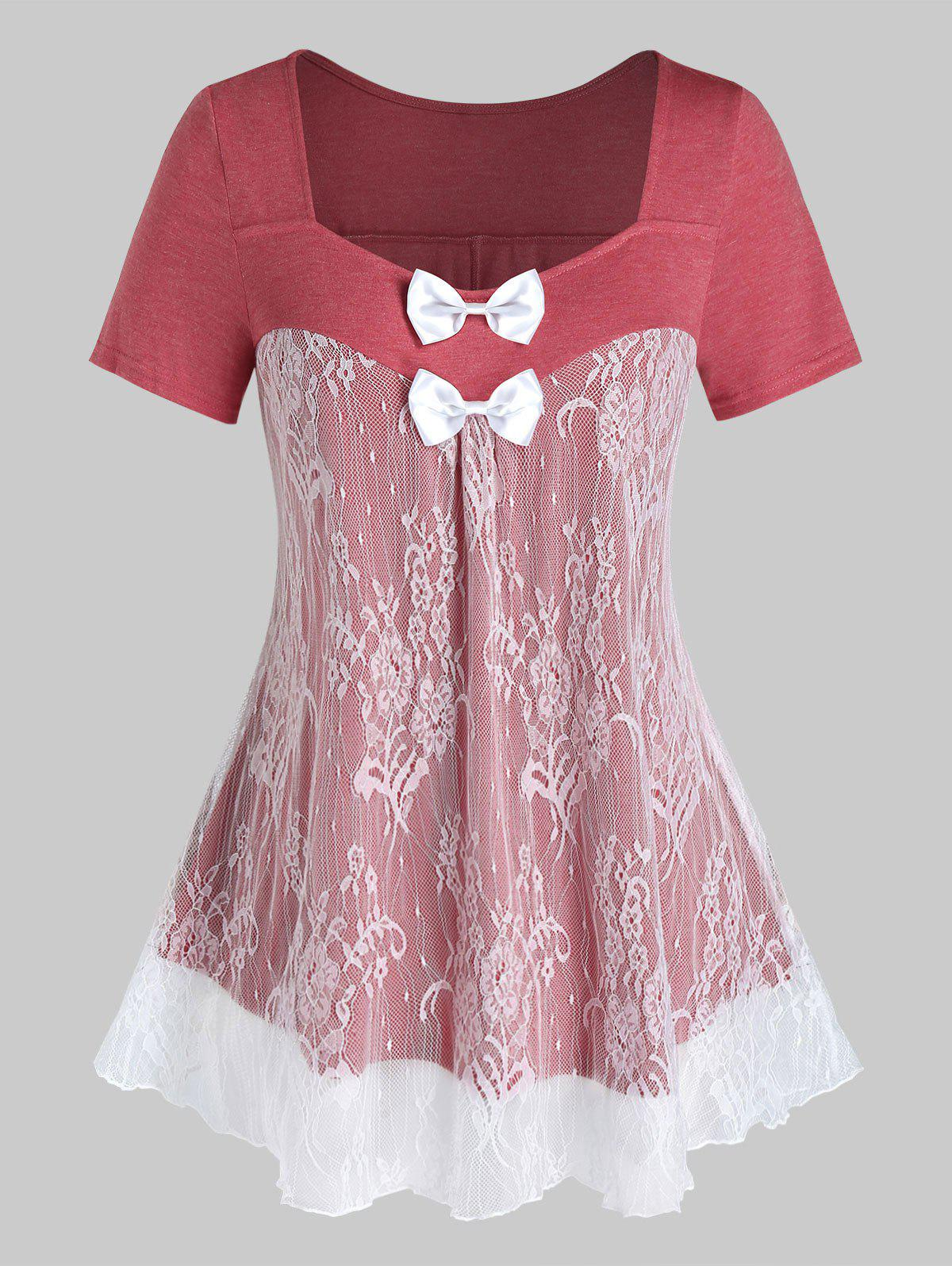 Plus Size Lace Panel Sheer Bowknot Tunic Tee - VALENTINE RED 2X