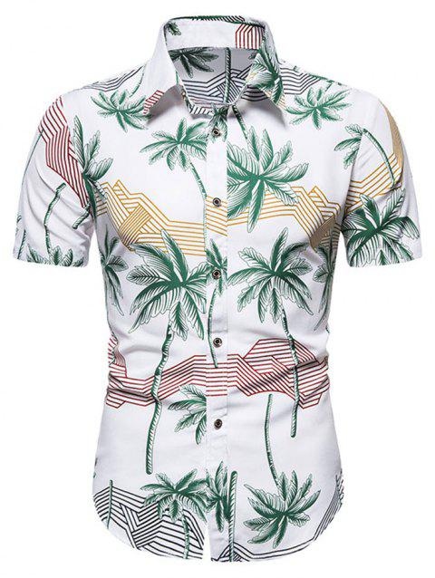 Hawaiian Palm Tree Stripes Print Short Sleeves Shirt
