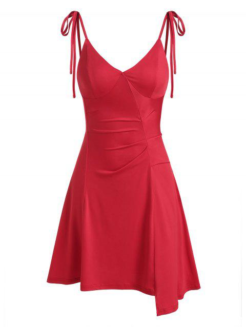 Asymmetric Lace Up Slip V Neck Dress