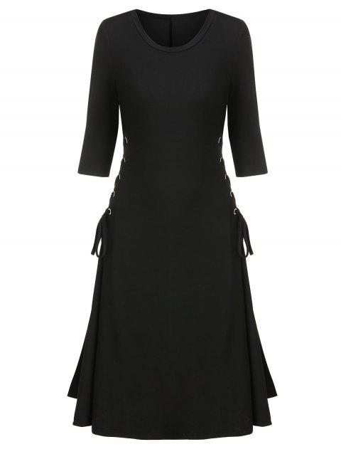 Side Lace Up A Line Solid Dress