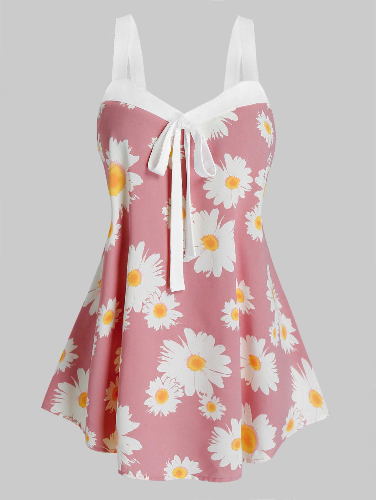 Plus Size Daisy Flower Knot Backless Tank Top - PINK ROSE 5X