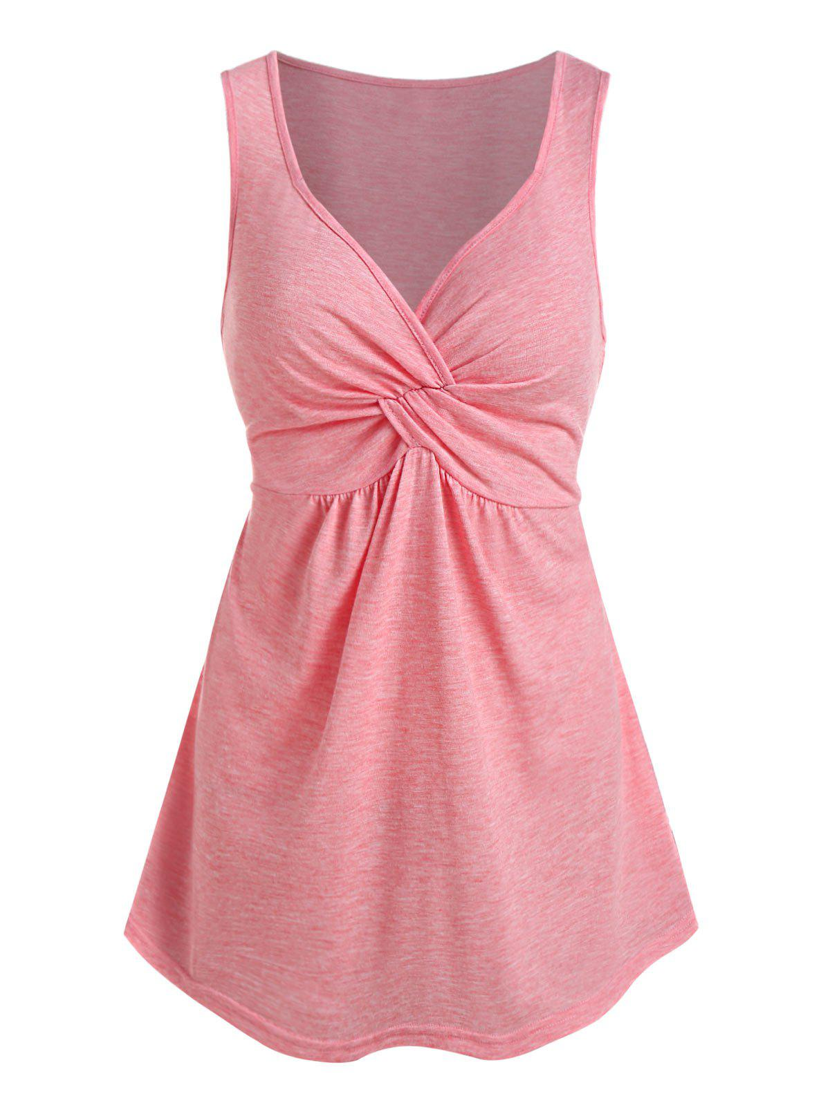 Front Twist Plunging Neck Tank Top - PINK L