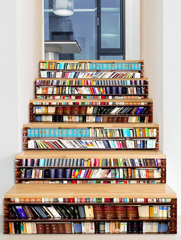 Bookcase Print Decorative Stair Stickers - multicolor 6PCS X 39 X 7 INCH( NO FRAME )