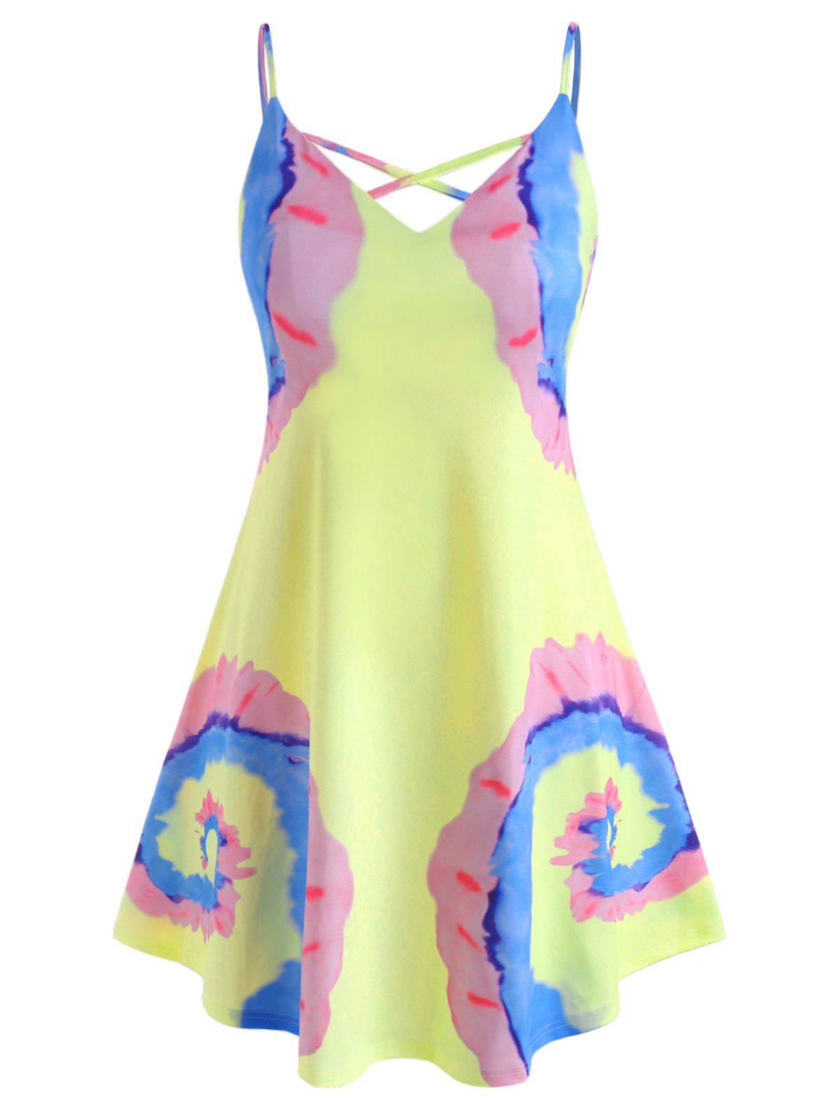 Tie Dye Criss Cross Plus Size Cami Dress - LIGHT YELLOW 2X