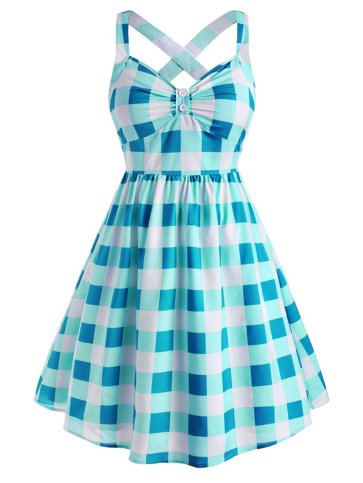 Plus Size Vintage Plaid Crisscross Fit and Flare Dress - BLUE 2X