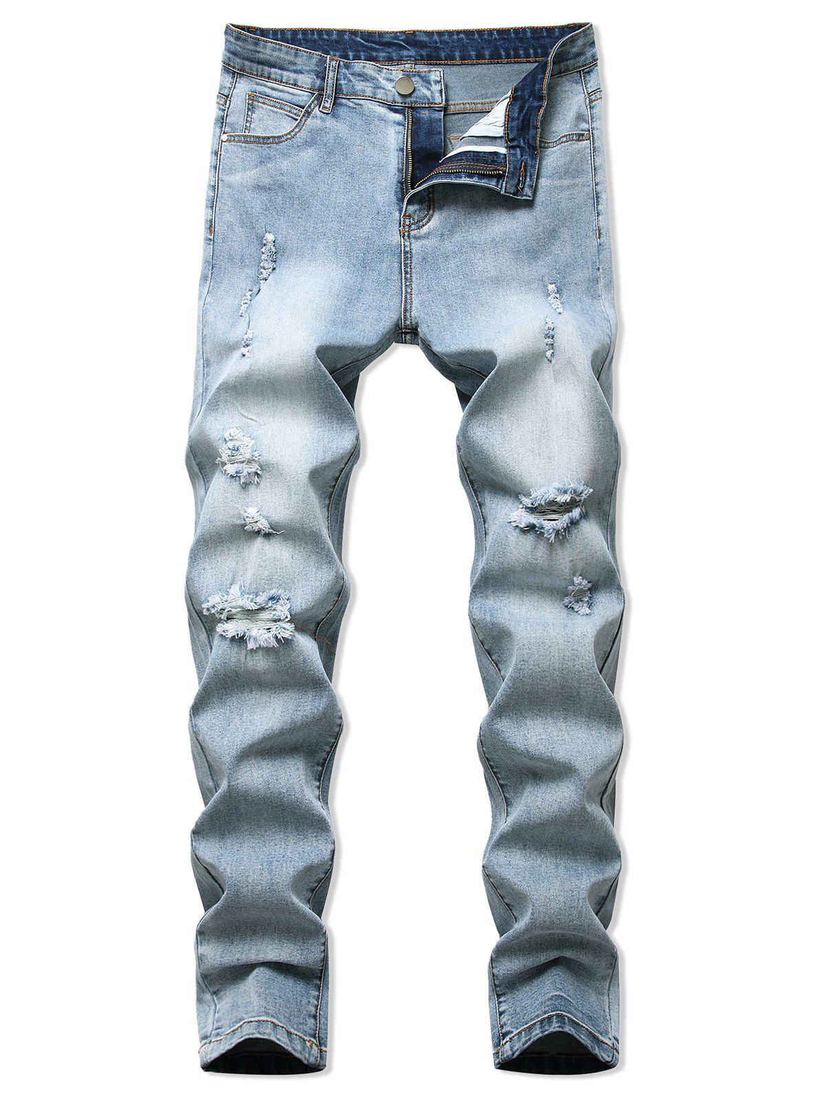 Destroyed Light Wash Tapered Casual Jeans - LIGHT BLUE 40