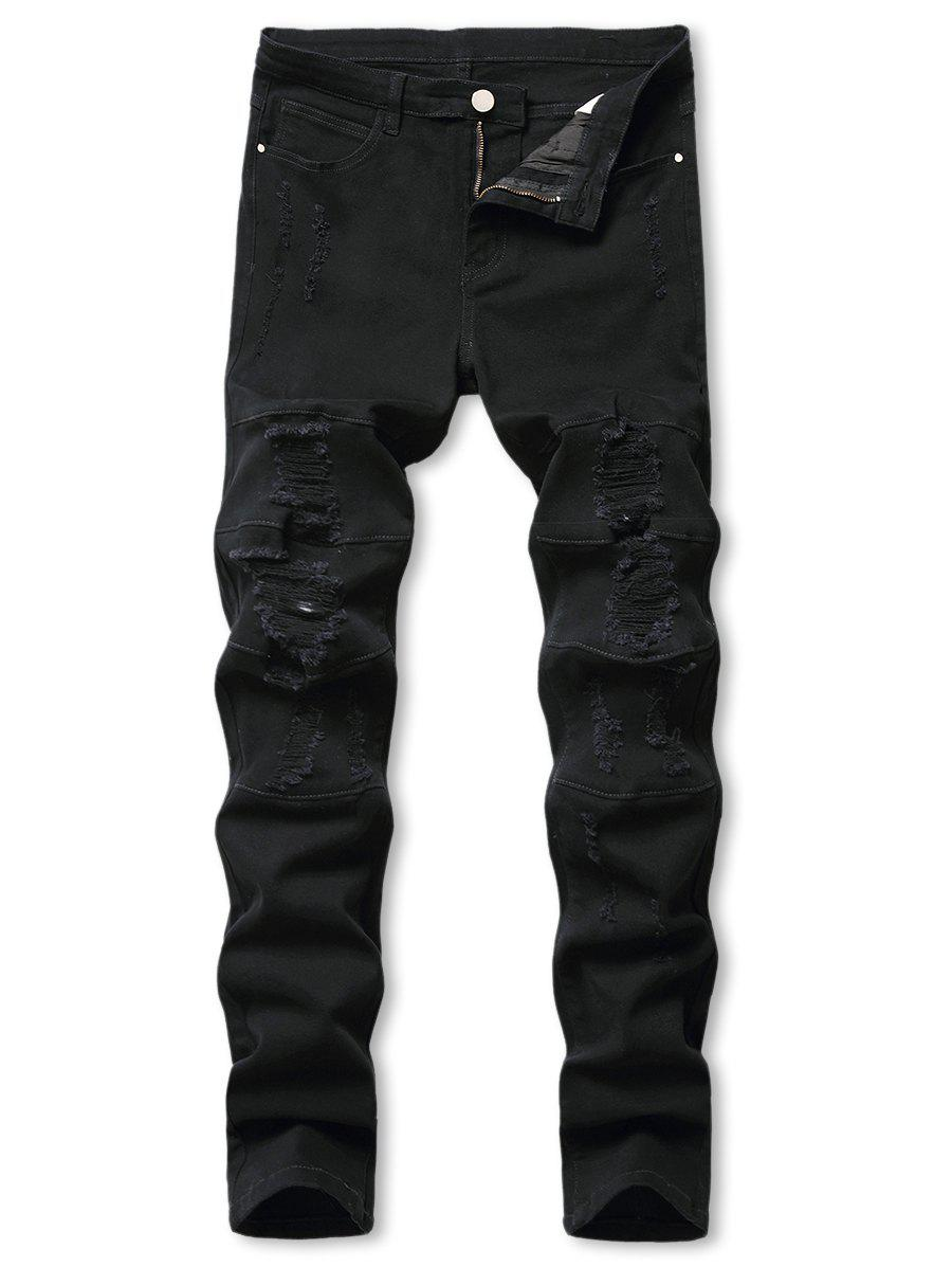 Mid-rise Distressed Tapered Jeans - BLACK 38
