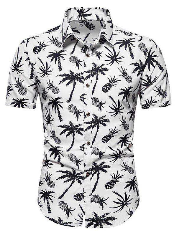 Palm Tree Pineapple Print Beach Shirt - WHITE 3XL