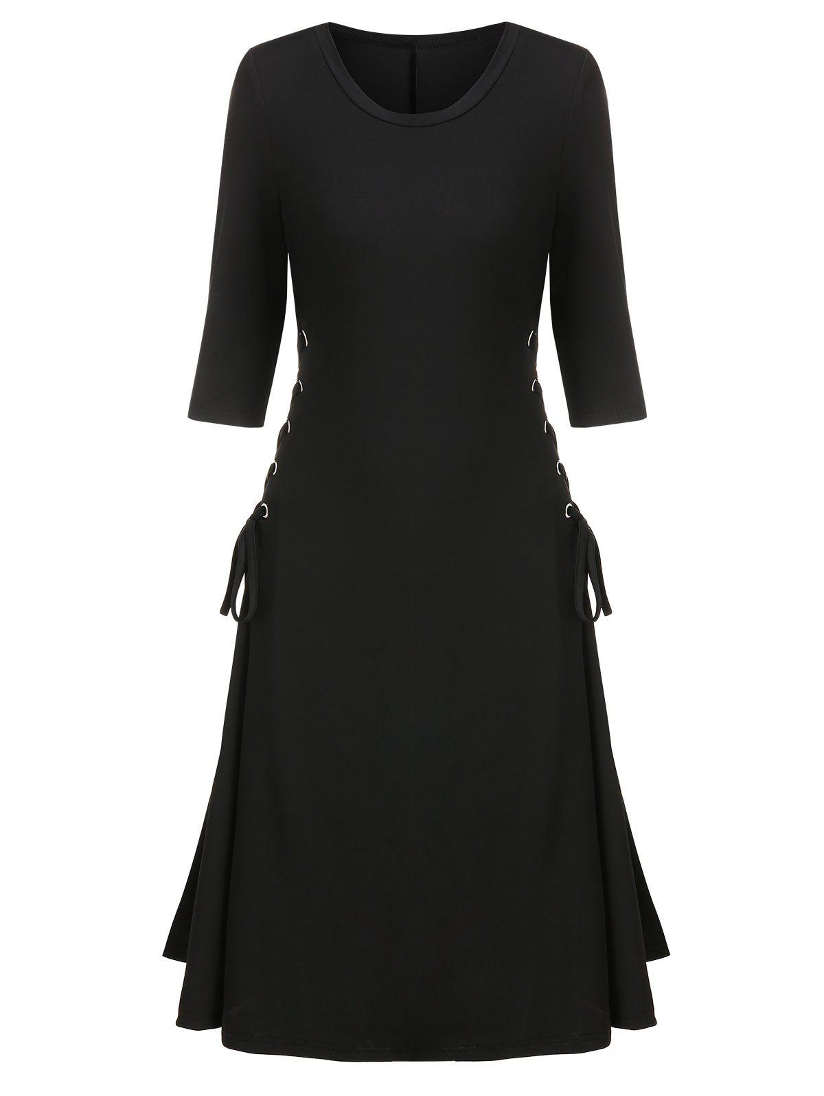 Side Lace Up A Line Solid Dress - BLACK M