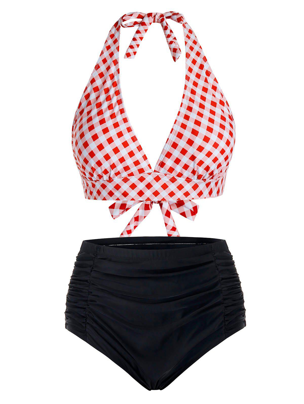 Plus Size Plaid Halter Tankini Swimsuit - VALENTINE RED 5X