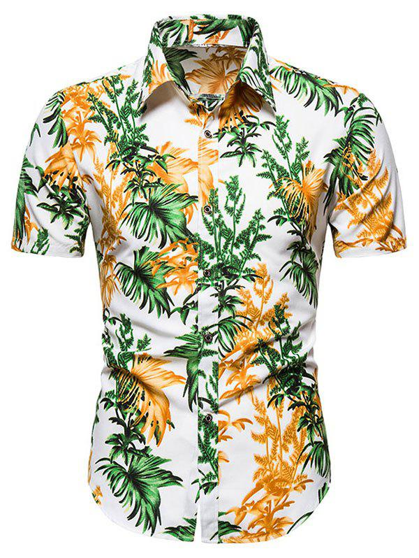 Short Sleeve Tropical Leaves Button Up Shirt - WHITE M