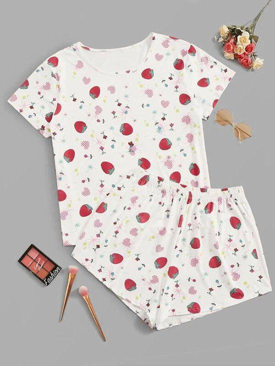 Strawberry Heart Print Plus Size Pajama Set - WHITE 3XL