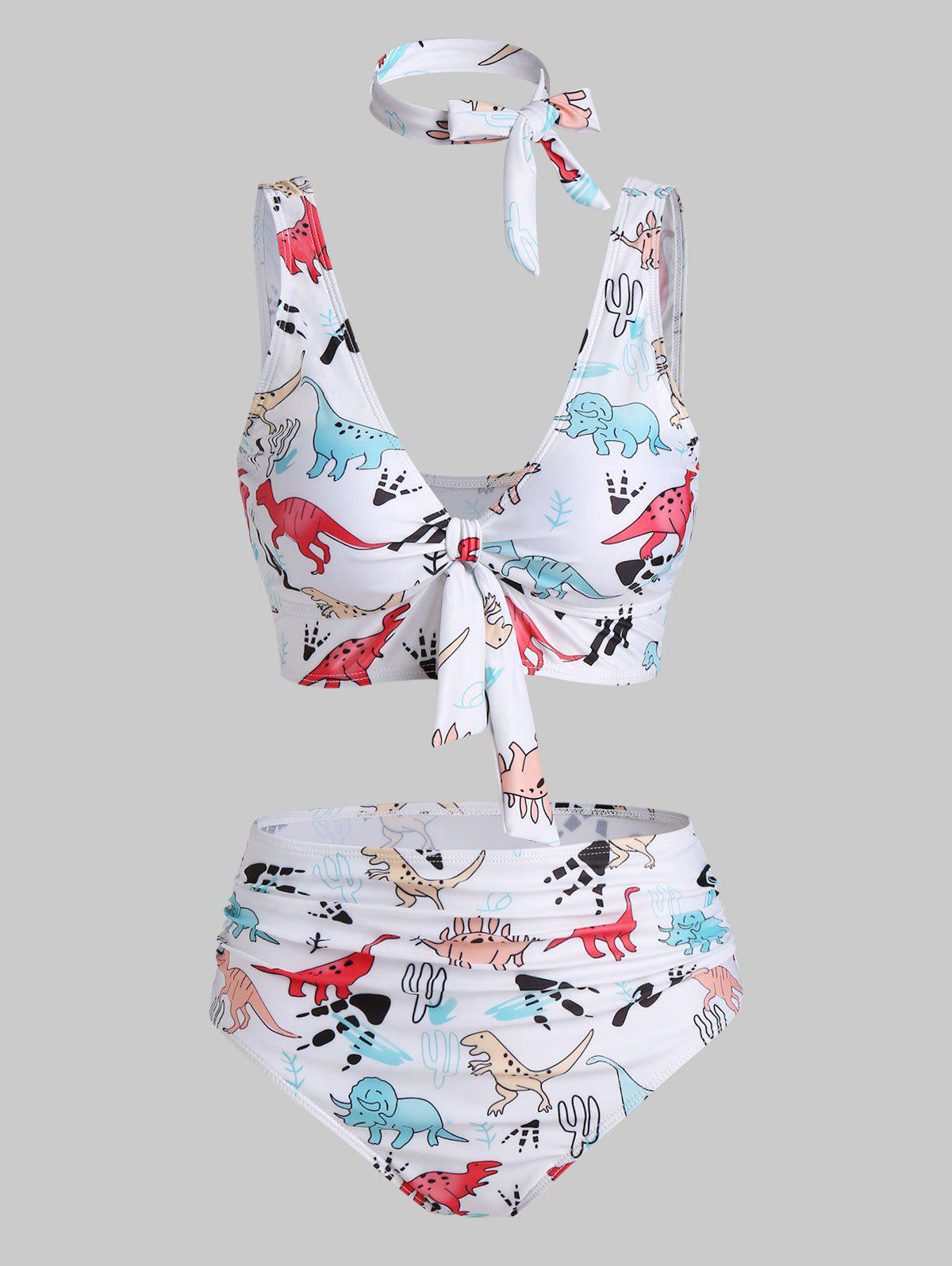 Cartoon Dinosaur Print Knotted Padded Bikini Set - WHITE L