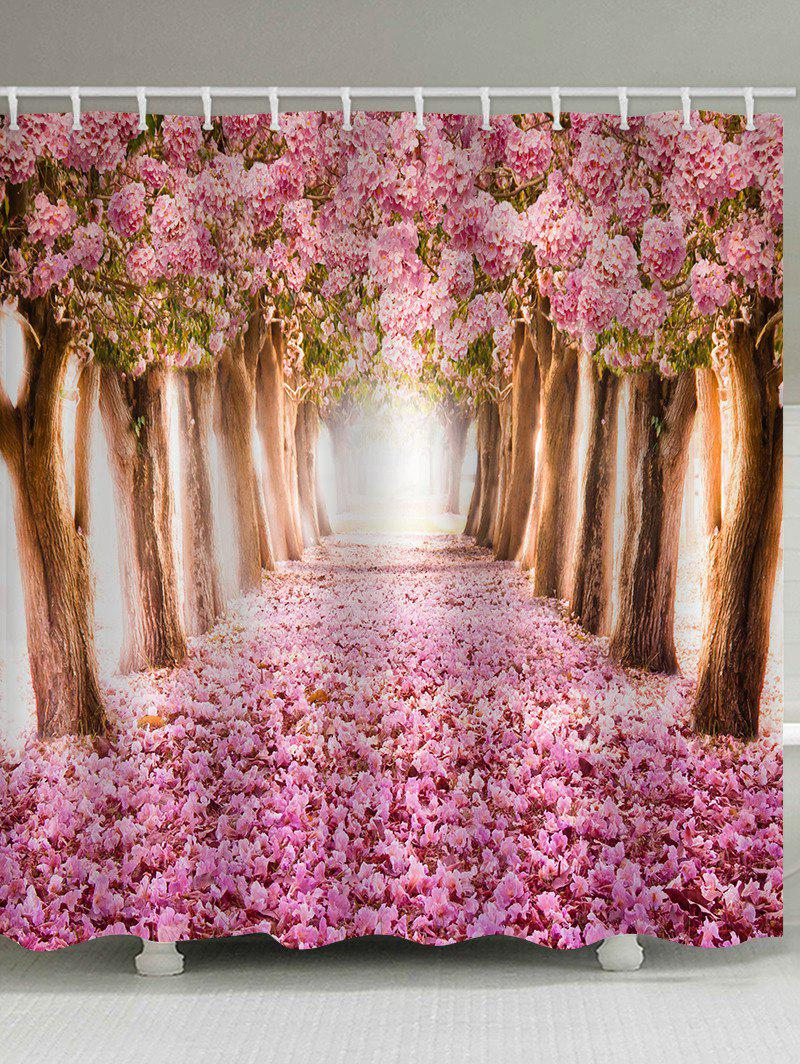 Blooming Cherry Flower Trees Pathway Print Shower Curtain - multicolor W71 X L71 INCH