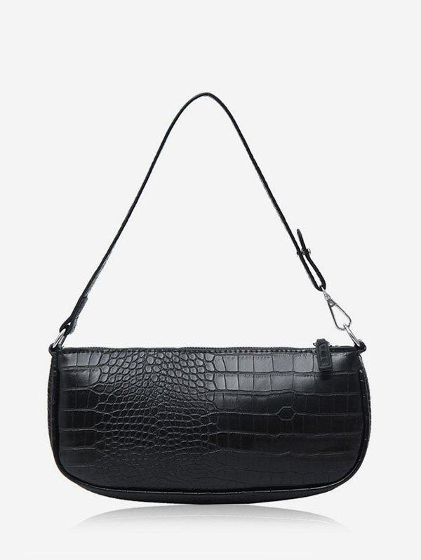 Animal Embossed Leather Sling Bag - BLACK