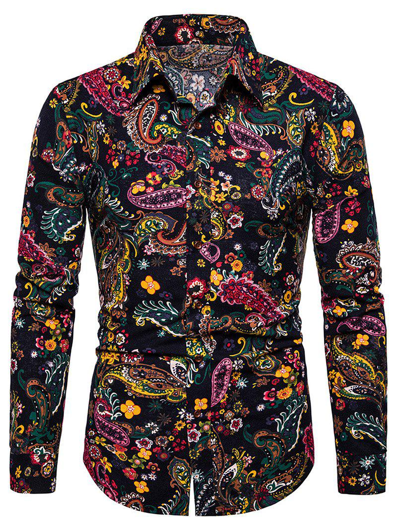 Ditsy Paisley Print Linen Button Up Shirt - multicolor M