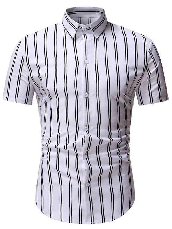 Vertical Striped Pattern Casual Shirt - WHITE M