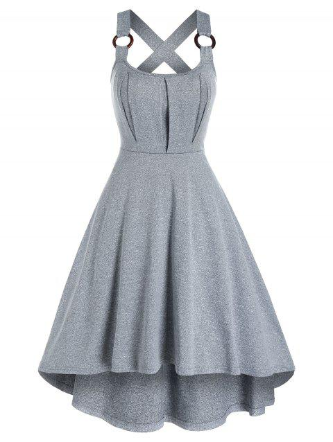 Mesh Insert Sleeveless Marled Midi Dress