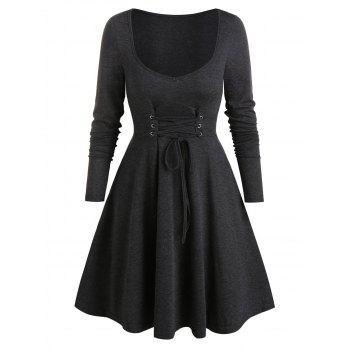 Long Sleeve Lace-up Front Heathered Dress
