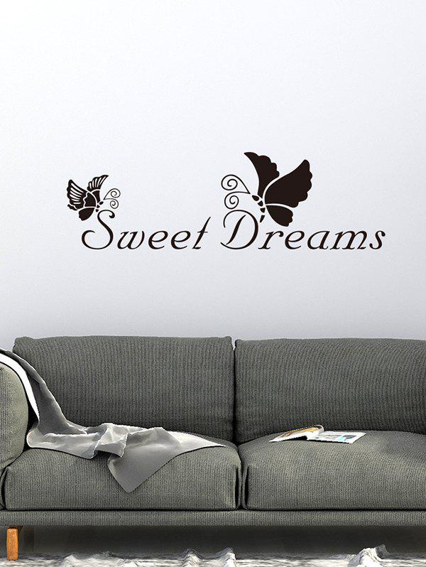 Sweet Dream Butterfly Printed Decorative Wall Art Stickers - BLACK 56X23CM