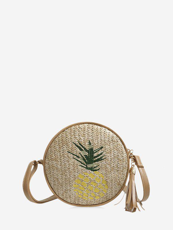 Pineapple Leaf Graphic Straw Round Crossbody Bag - YELLOW