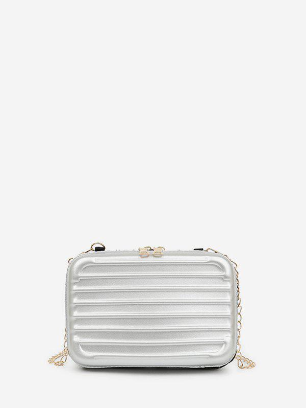 Chain Suitcase Shape Crossbody Bag - LIGHT GRAY