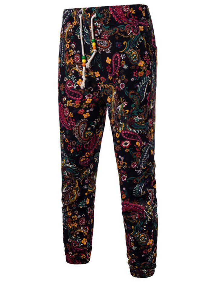 Tribal Flower Paisley Print Casual Jogger Pants - BLACK M