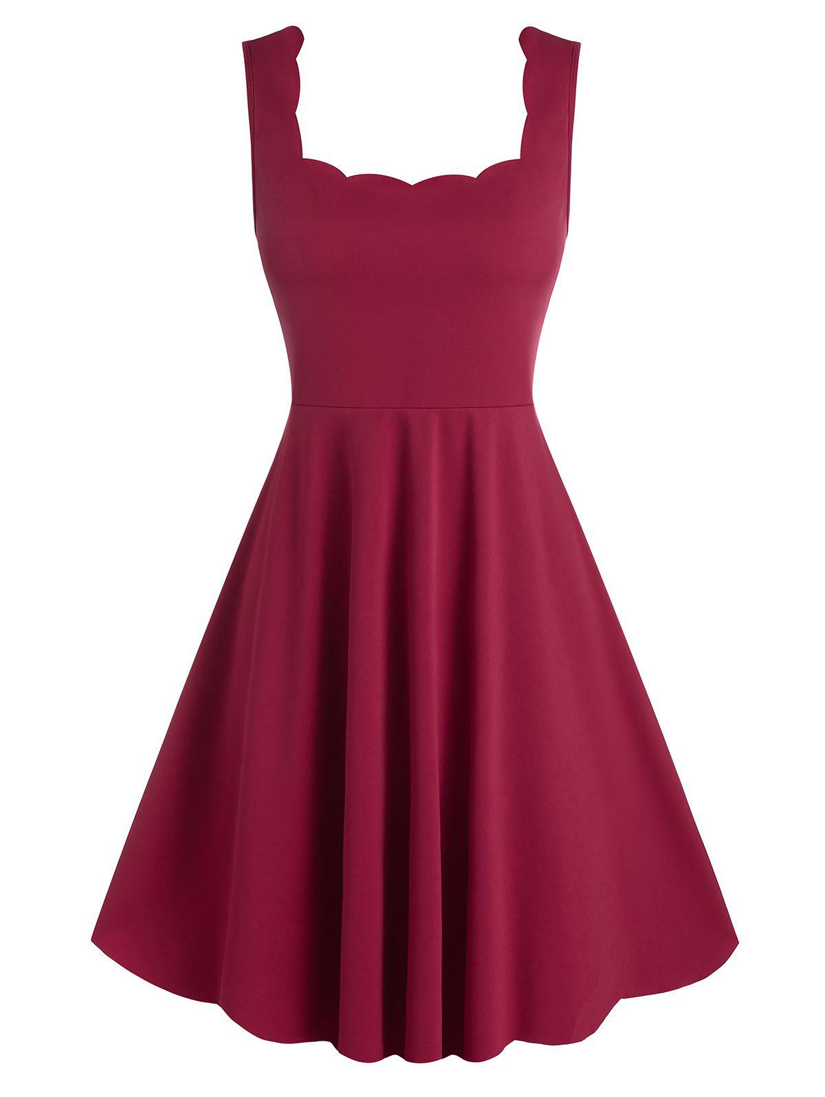 Sleeveless Square Neck Scalloped Flare Dress - RED WINE 3XL