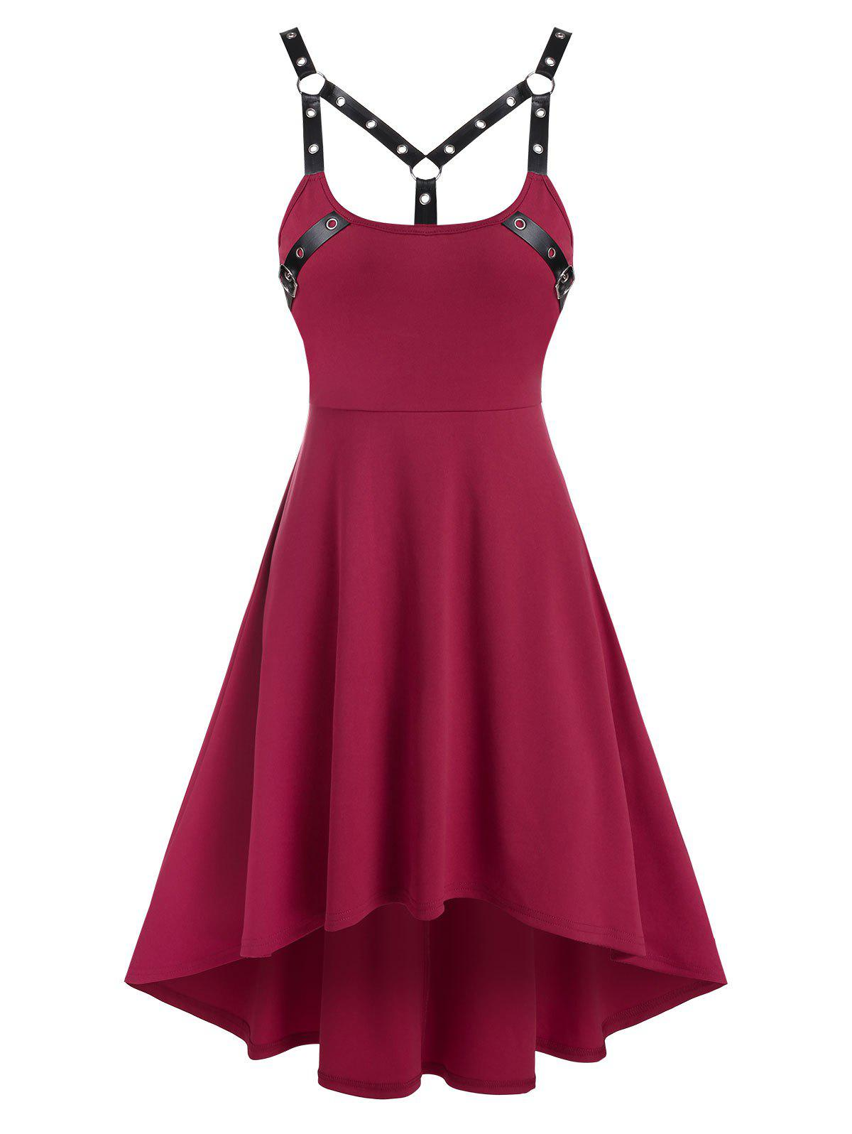 Harness Insert Sleeveless High Low Gothic Dress - RED WINE 3XL