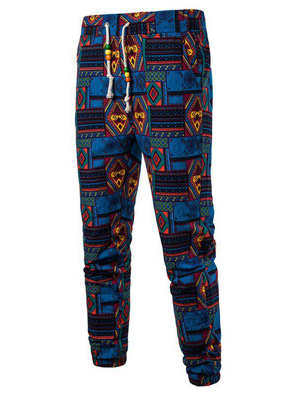 Tribal Geometric Print Drawstring Jogger Pants - multicolor B XL
