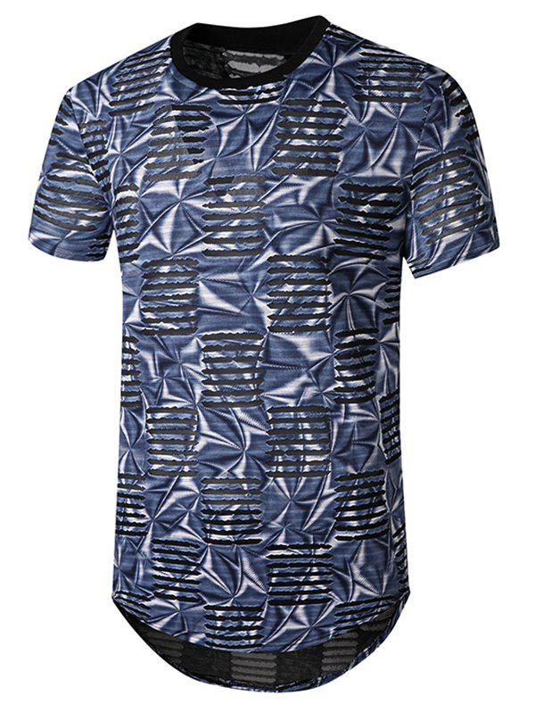 Printed Mesh Patch Hole Crew Neck Curved T Shirt - BLUE 2XL