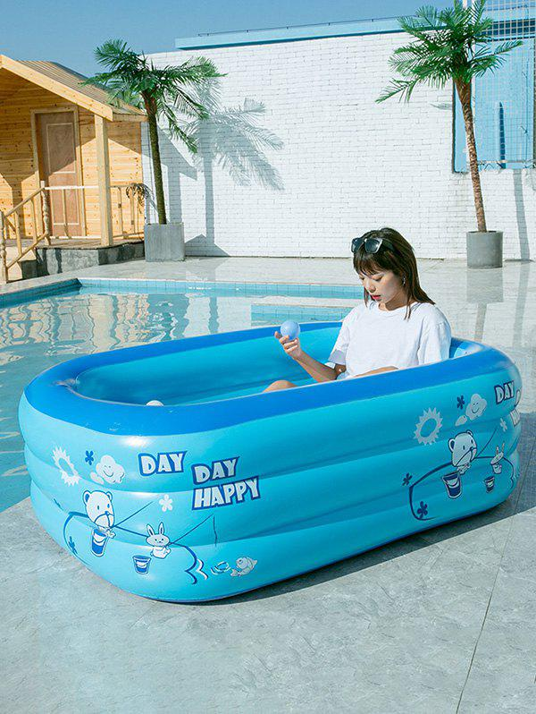 Rectangle Inflatable Swimming Pool Children Play Pool Outdoor Swimming Pool - BLUE