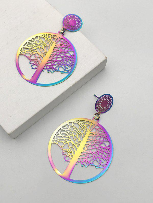 Hollow Out Colored Tree Of Life Earrings - multicolor