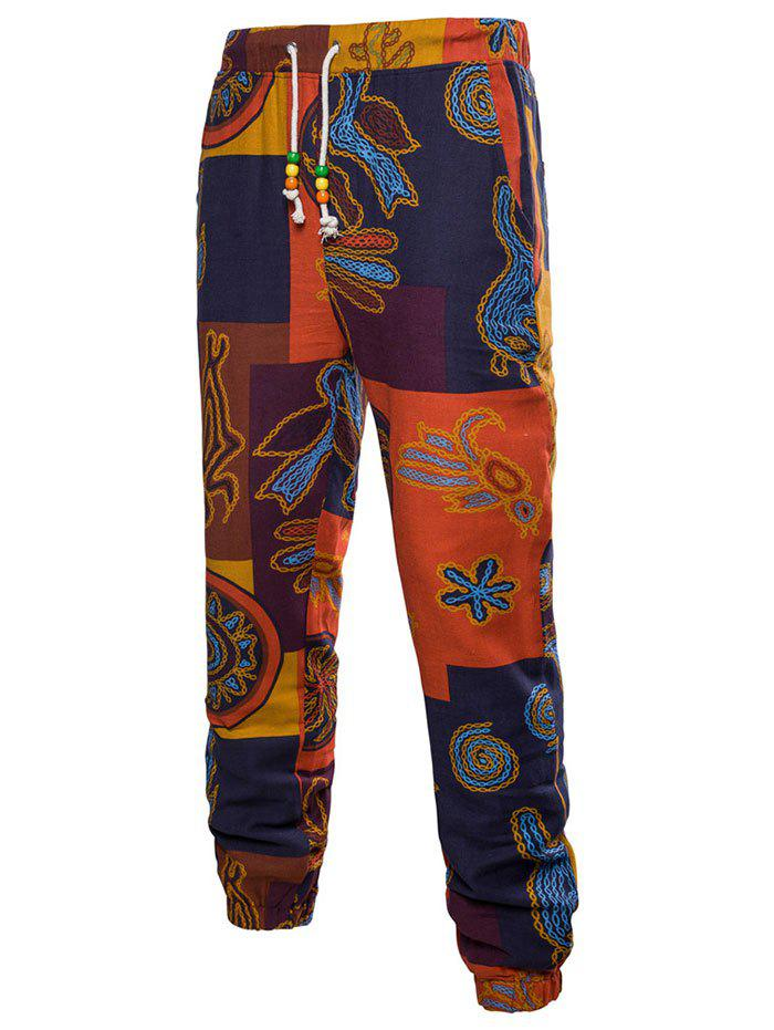 Tribal Print Colorblock Patch Jogger Pants - PAPAYA ORANGE XL