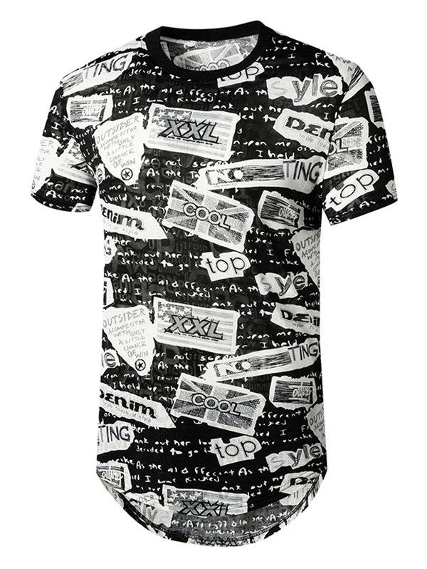 T-shirt Courbe Long Semi-transparent Lettre Grafitti - Noir 2XL