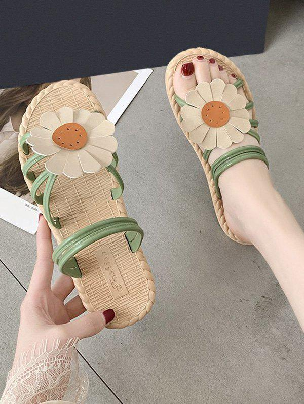 Sunflower Convertible Strap Flat Sandals - GREEN EU 37