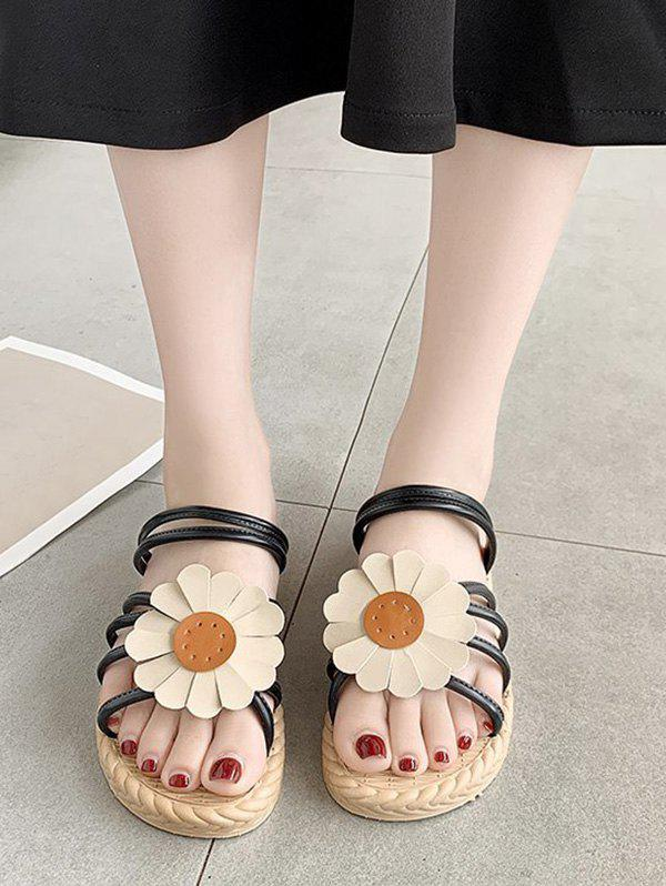 Sunflower Convertible Strap Flat Sandals - BLACK EU 38