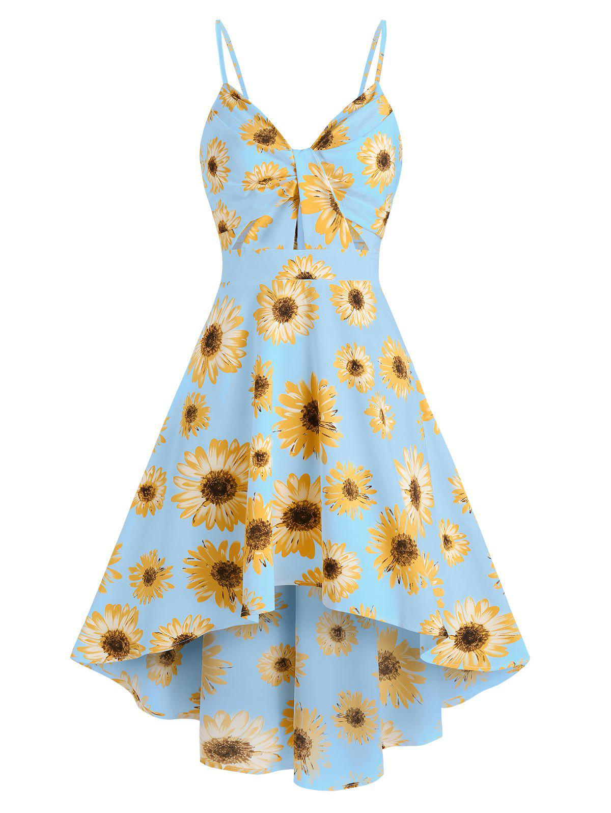 Sunflower Print Spaghetti Strap High Low Dress - LIGHT BLUE 2XL